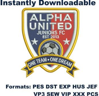 alpha united juniors football club embroidery design